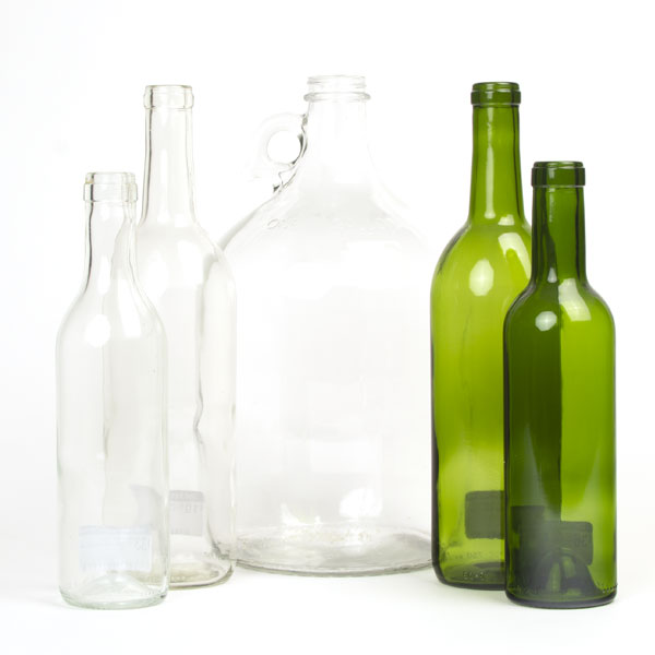 clear & green wine bottles